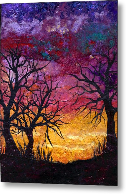 Landscape Metal Print featuring the painting Winter Sunset Silhouette by Dina Sierra