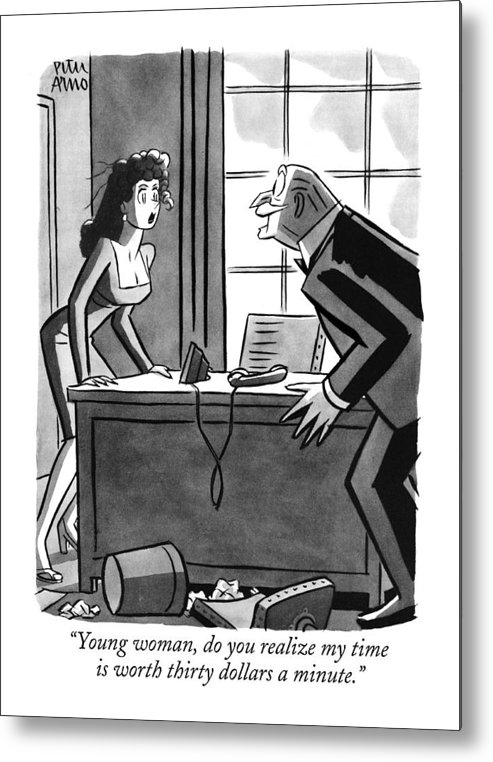 (old Executive To Secretary As He Chases Her Around Desk.) Money Metal Print featuring the drawing Young Woman by Peter Arno