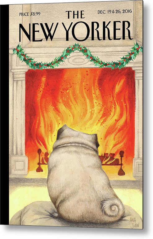 Pug Metal Print featuring the painting Yule Dog by Ana Juan