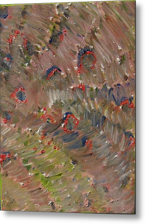 Abstract Metal Print featuring the painting Ritual Beadwork by Laurie Morgan