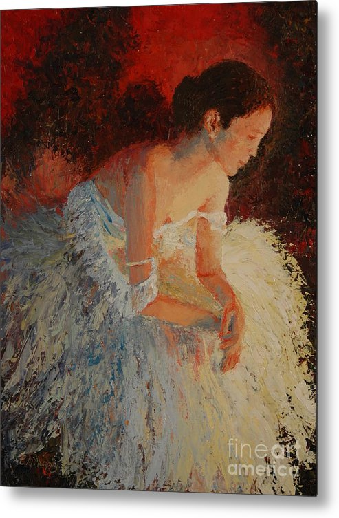 Oil Metal Print featuring the painting Ballerina Pondering by Colleen Murphy