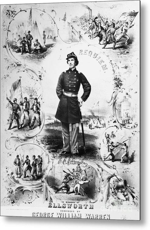 1861 Metal Print featuring the photograph Elmer Ephraim Ellsworth by Granger