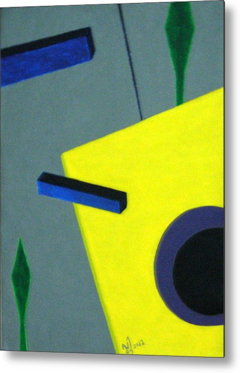 Geometrical Arrangement Metal Print featuring the painting No.365 by Vijayan Kannampilly