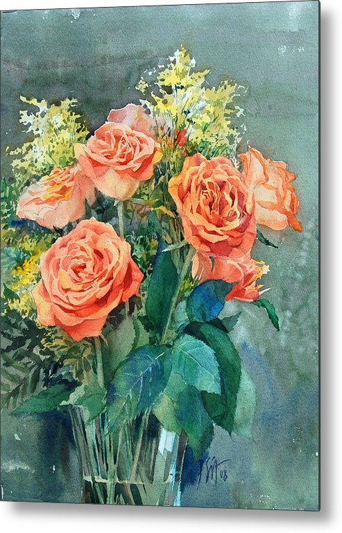 Peter Sit Watercolor Metal Print featuring the painting Red Roses by Peter Sit