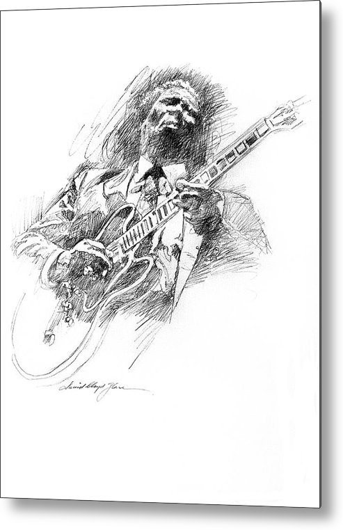 B B King Metal Print featuring the drawing B B KING and LUCILLE by David Lloyd Glover
