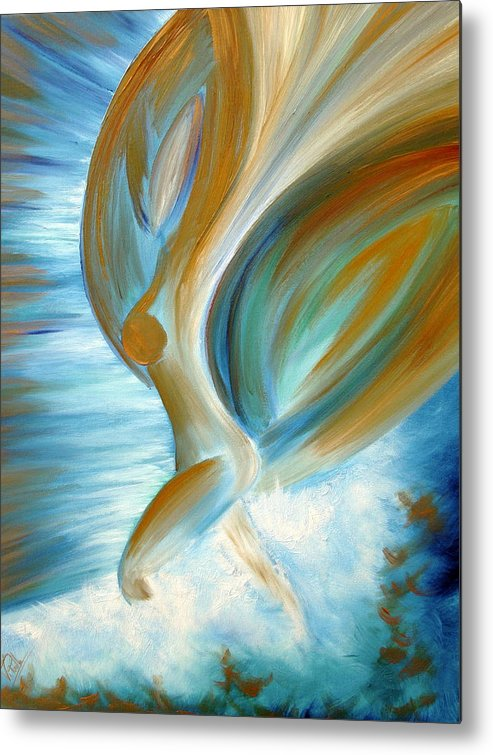 Angel Blue Painting Metal Print featuring the painting Flying Angel by Viviana Puello Villa