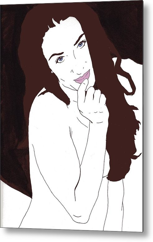 Nude Portrait Metal Print featuring the drawing Mischevious by Stephen Panoushek