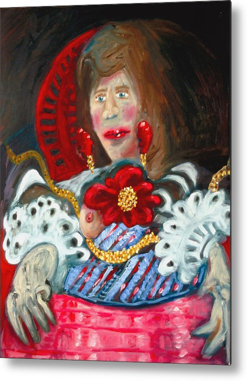 Woman Metal Print featuring the painting Variation on Velasquez by Michael Henderson