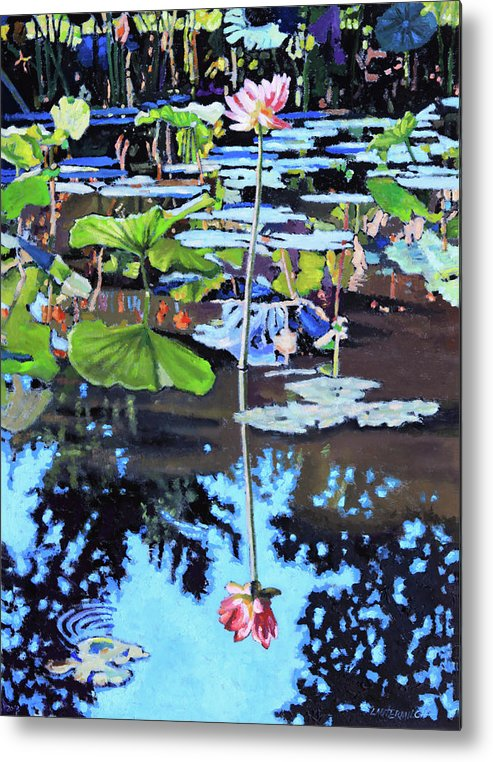 Garden Pond Metal Print featuring the painting Lotus Reflections by John Lautermilch