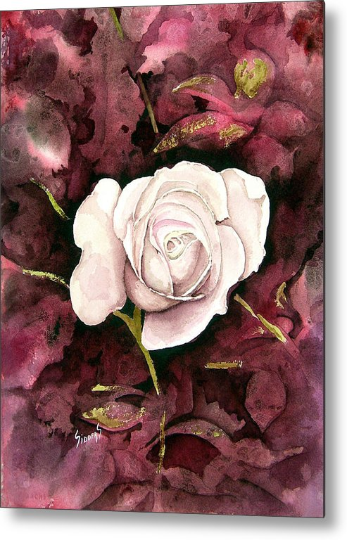 Flower Metal Print featuring the painting A White Rose by Sam Sidders