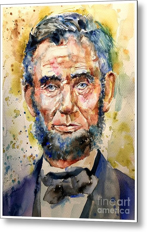 Abraham Metal Print featuring the painting Abraham Lincoln watercolor by Suzann Sines