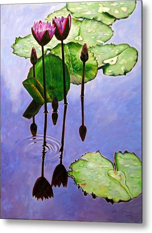 Rose Colored Water Lilies After A Morning Shower With Dark Reflections And Water Ripple. Metal Print featuring the painting After The Shower by John Lautermilch