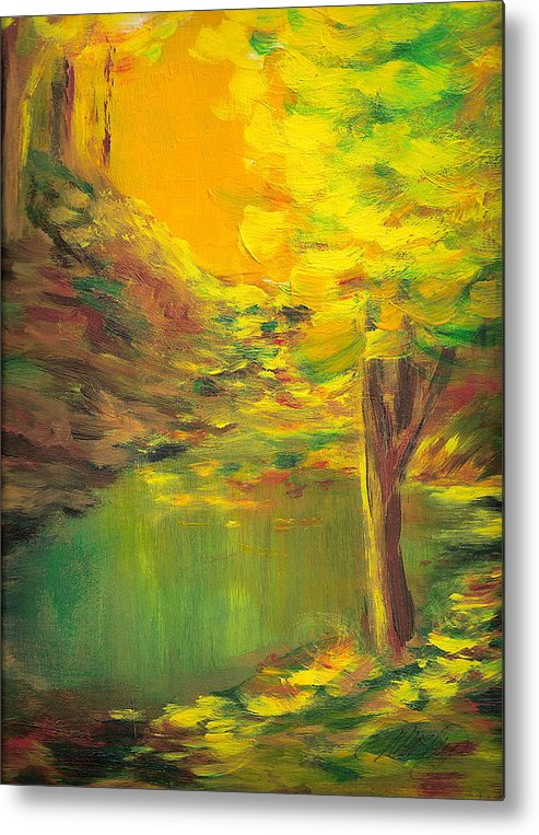 Landscape Metal Print featuring the painting Aldergrove Lake by Vi Mosley