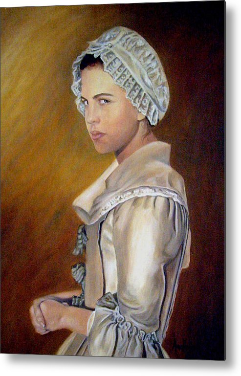 Portrait Metal Print featuring the painting Annilise by Anne Kushnick