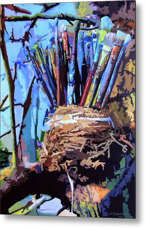 Robin Nest Metal Print featuring the painting Art In A Nest by John Lautermilch