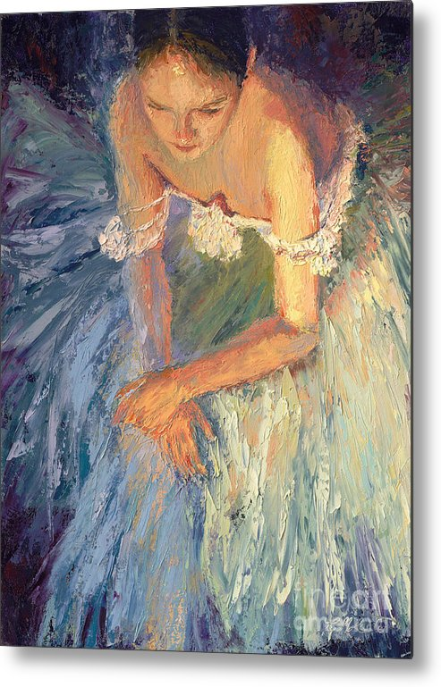Ballerina (framed) Metal Print featuring the painting Ballerina Resting by Colleen Murphy