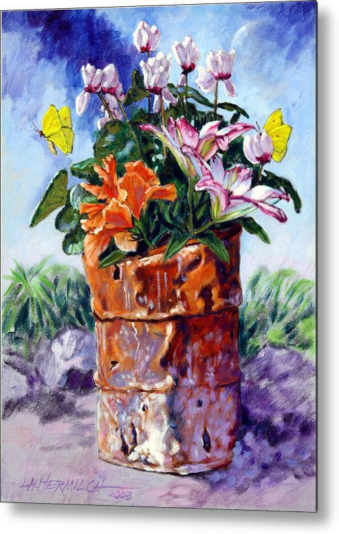 Flowers In Barrel Metal Print featuring the painting Beauty Grows Everywhere by John Lautermilch