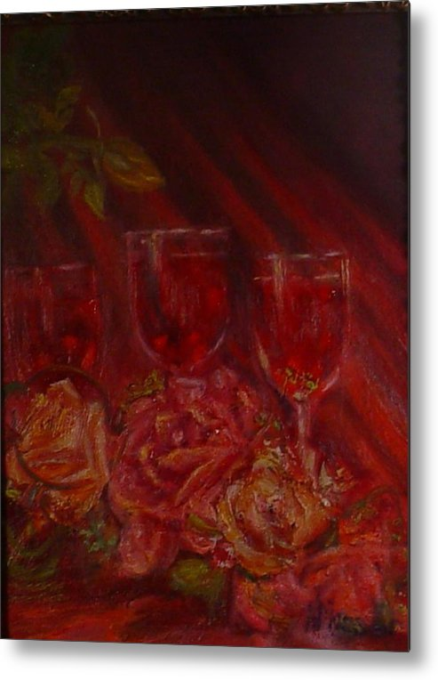 Wine And Roses Metal Print featuring the mixed media Beringer Cabernet Savignon by Helen Musser