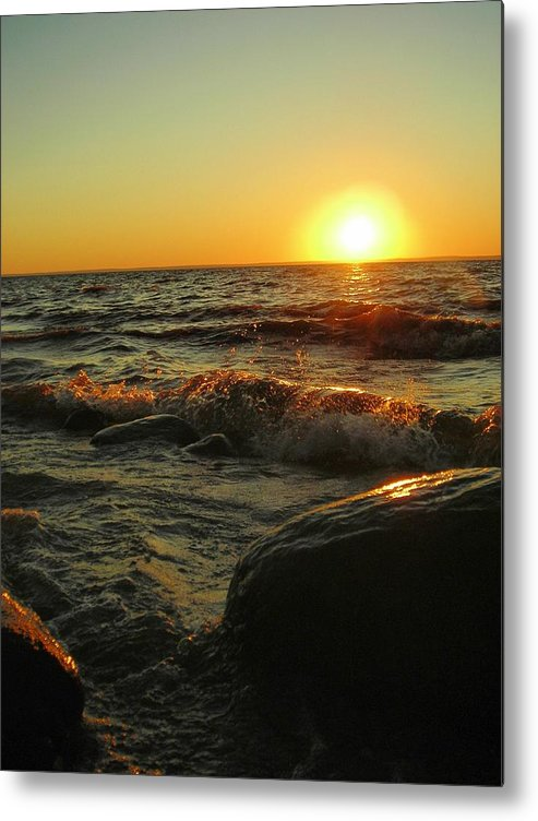Sunset Metal Print featuring the photograph Between a Rock and a Sunny Place by Peter Mowry