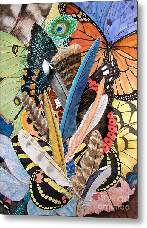 Feathers Metal Print featuring the painting Bits of Flight by Lucy Arnold