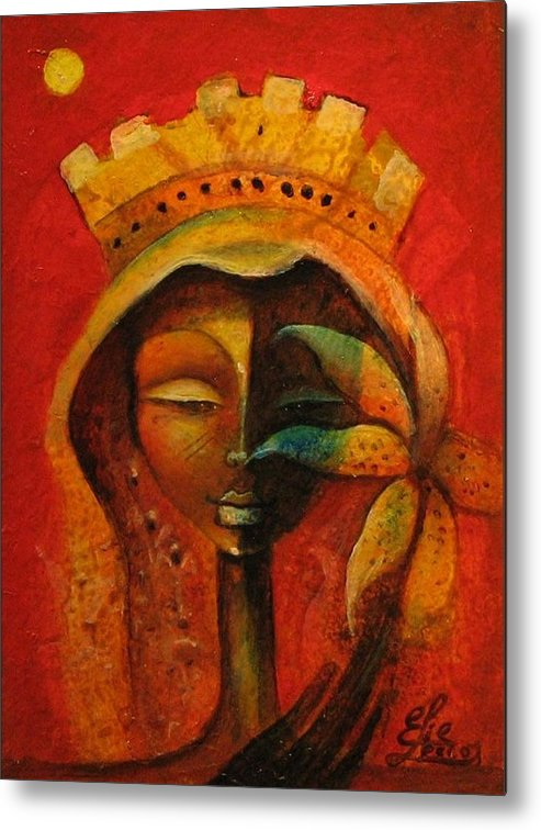 Haitian Art Metal Print featuring the painting Black Flower Queen by Elie Lescot