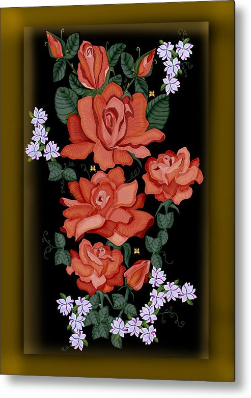Hand-drawn Digital Painting Metal Print featuring the painting Black Lacquer Roses by Anne Norskog