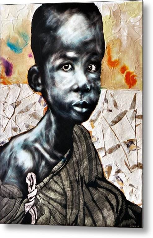Portriat Metal Print featuring the mixed media Blue Boy In A Big Sweater by Chester Elmore