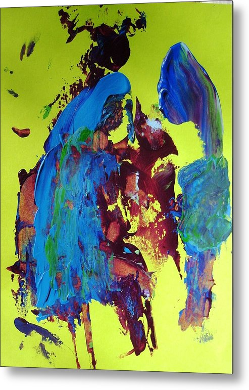Abstract Metal Print featuring the painting Blue Note by Bruce Combs - REACH BEYOND