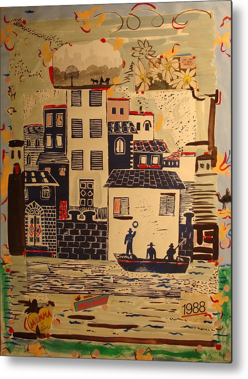 Metal Print featuring the painting Boat with fishermen and 1988 by Biagio Civale
