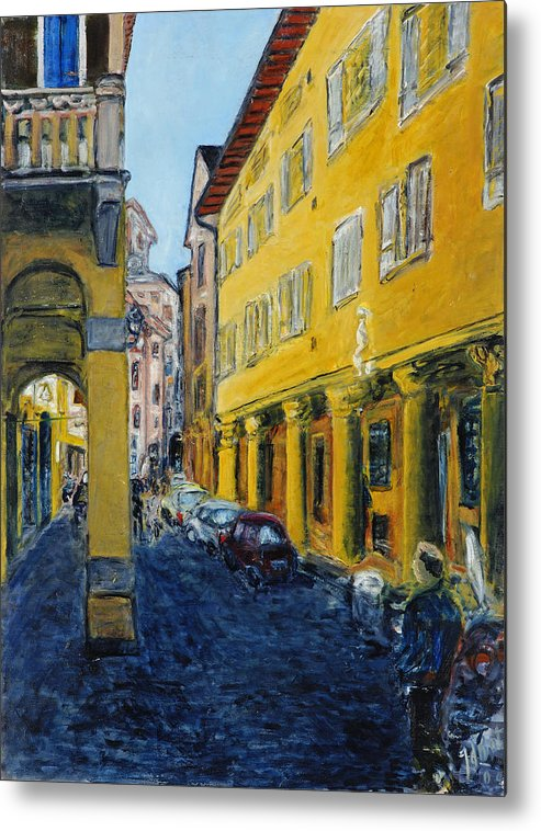 Cityscape Italy Bologna Cars Yellow Houses Man Columns Metal Print featuring the painting Bologna Galeria by Joan De Bot