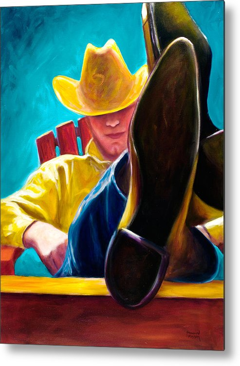 Western Metal Print featuring the painting Break Time by Shannon Grissom