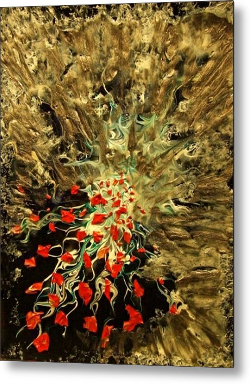 Abstract Explosion Symbolizing Incredible Release During Breakthrough And Flow Of Creative Energy Metal Print featuring the painting Breakthrough by Pam Ellis