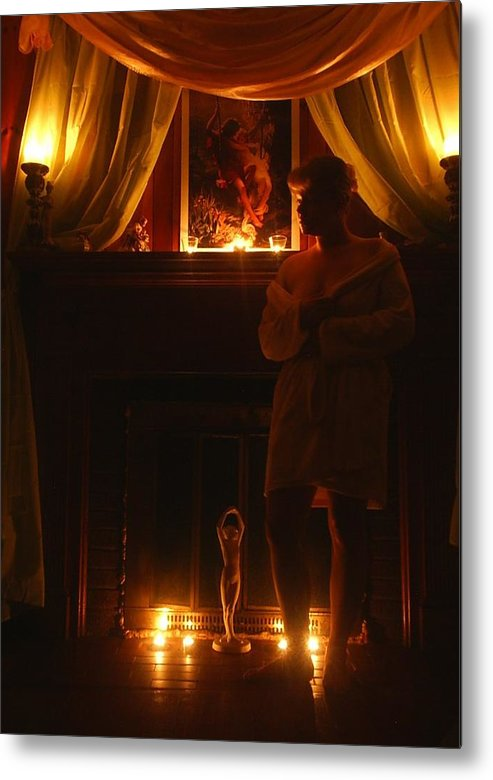 Woman Metal Print featuring the photograph Candlelight Glow by Scarlett Royal