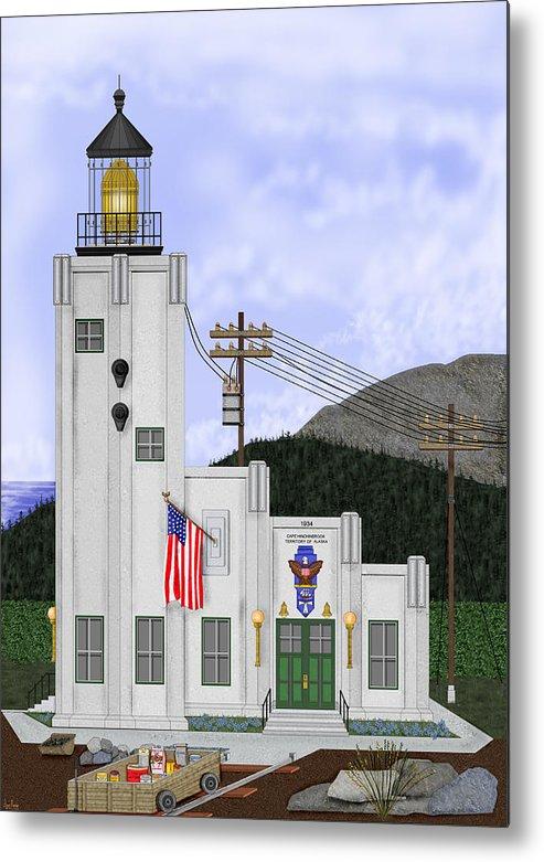 Cape Hinchinbrook Alaska Metal Print featuring the painting Cape Hinchinbrook Lighthouse in Alaska by Anne Norskog