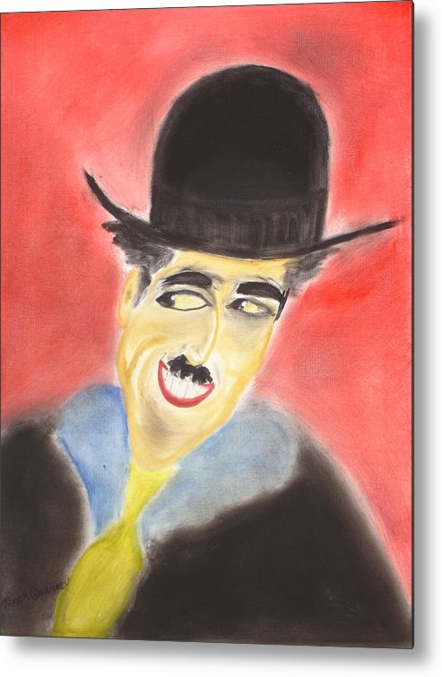 Cinema Film Metal Print featuring the painting Chaplin by Roger Cummiskey