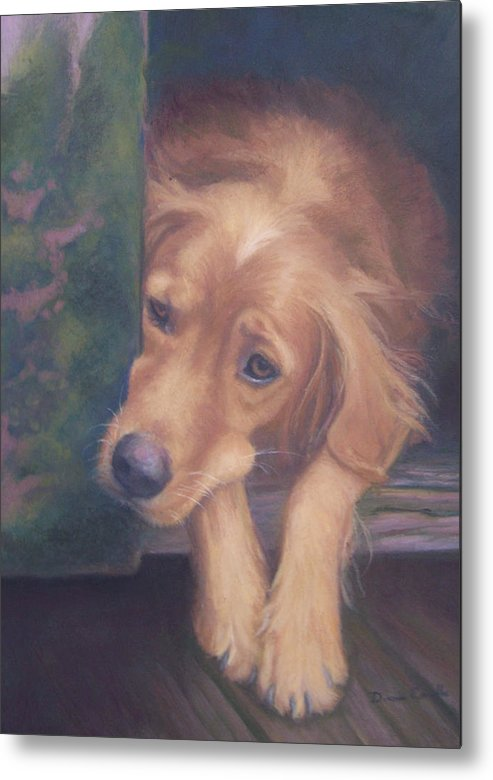 Charlie Metal Print featuring the painting Charlie's In The Doghouse by Diane Caudle