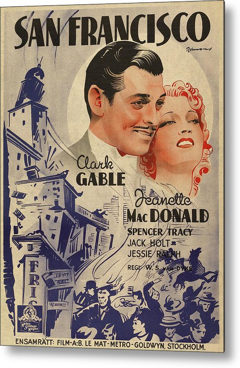 Clark Gable San Francisco Vintage Classic Movie Promotional Poster Metal  Print by Design Turnpike