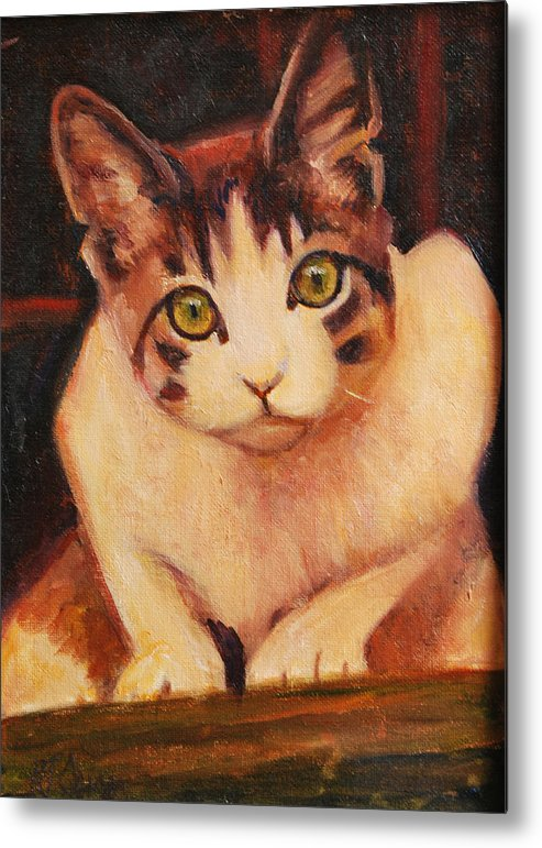 Cat Art Metal Print featuring the painting Curiosity by Billie Colson
