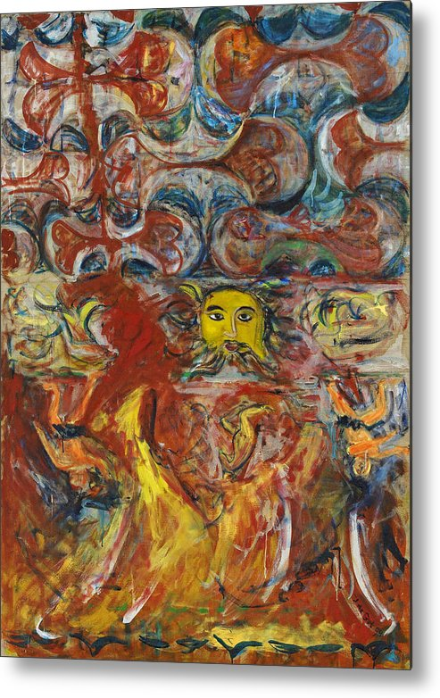 Red Yellow Blue Greek God Zeus Music Mythology Metal Print featuring the painting Cyprus Mosaic by Joan De Bot