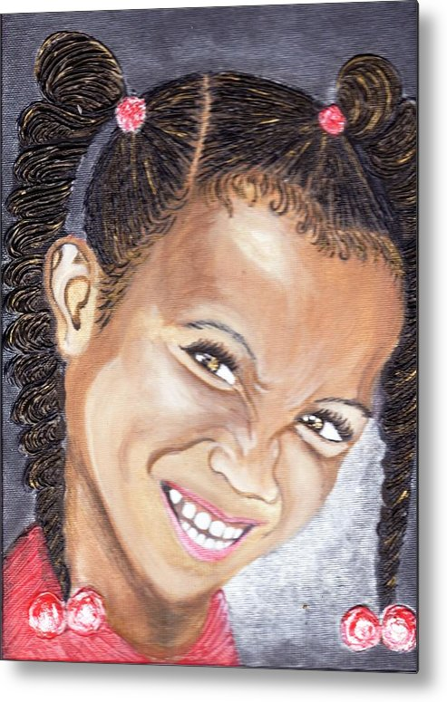 Smile Metal Print featuring the painting Devilish Grin by Keenya Woods