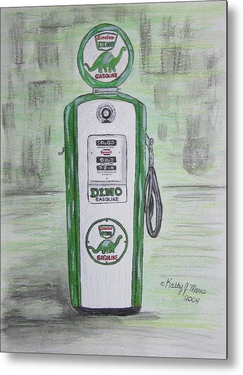 Dino Metal Print featuring the painting Dino Sinclair Gas Pump by Kathy Marrs Chandler