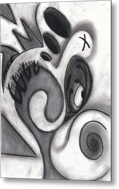 Charcoal Metal Print featuring the drawing Distorted Series 3 by Dan Fluet