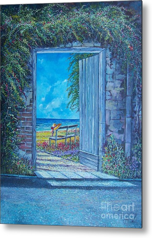Original Painting Metal Print featuring the painting Doorway To ... by Sinisa Saratlic