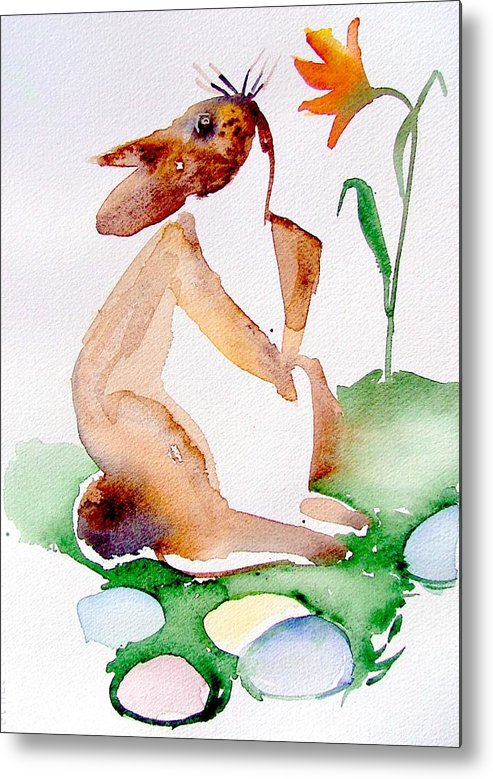 Bunny Metal Print featuring the painting Easter Bunny by Mindy Newman