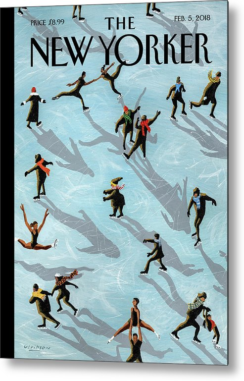 Figured Skaters Metal Print featuring the painting Figured Skaters by Mark Ulriksen