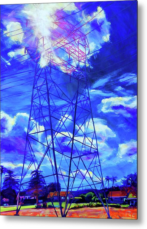 Power Tower Metal Print featuring the painting Flash by Bonnie Lambert