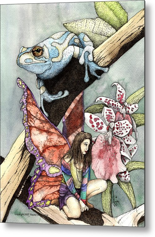 Fairy Faery Dragons Demon Fantasy Art Amy Brown Wizards Magic Pagen Metal Print featuring the mixed media Frog Flowers And A Fairy by Preston Shupp