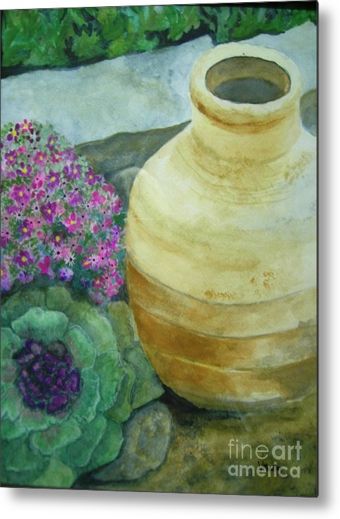 Landscape Metal Print featuring the painting Garden Path by Vi Mosley