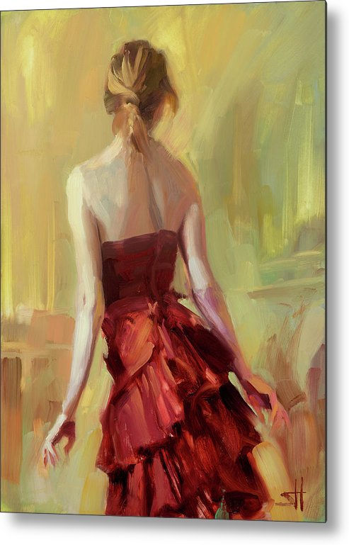 Girl Metal Print featuring the painting Girl in a Copper Dress I by Steve Henderson