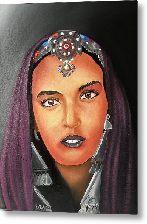 This One Is An Original Work Of Art! It Would Be A Great Buy For The Morocco Lover!!!!!! Metal Print featuring the painting Girl Of Morocco by Dunbar's Local Art Boutique